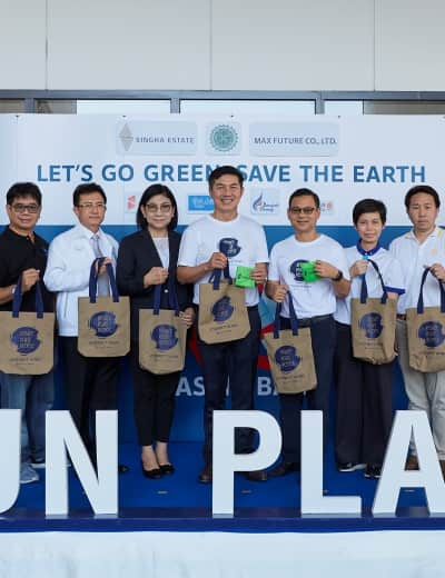"Singha Estate joins hands with Max Future and Sun Plaza to launch the ""Let's Go Green, Save the Earth"" Campaign with the ambition of eliminating plastic waste in communities by 2022"